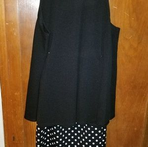 Swing mock top and pencil skirt